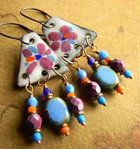 Enamel Chandelier Earrings Colorful Beaded - Chandelier Enamel