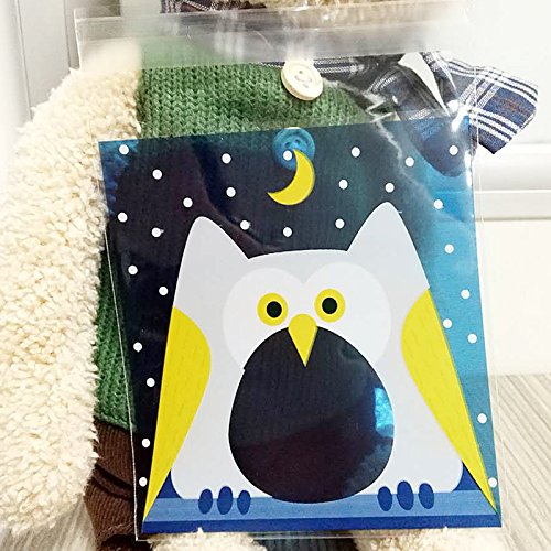 Saasiiyo 10cm10cm 100Pcs Blue Owl Cookie Candy Self Adhesive Plastic Packing Bags Biscuit Cupcake Baked Food Package Pouches