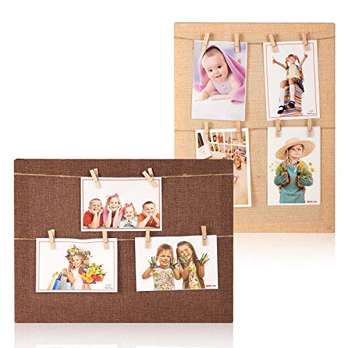 YINASI Wood Linen Picture Frame, 2 Pack Hanging Photo Display with Twine Cord and Clothespin Clips for Hanging Prints, Instax, Polaroid, Holiday Cards, Artwork,Photos, Picture ()