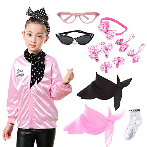 Child Girls 50's Pink Lady Jacket Costume with Headband Neck Scarf (8-10 Years, ()