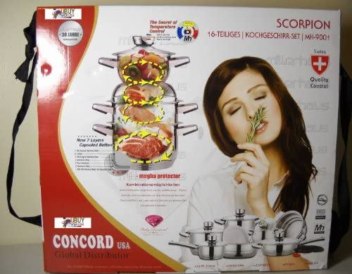 Scorpion MH-9001 16 Pcs Stainless Steel Millerhaus Cookware Cooking Set by Swiss Concord USA Global Distribution
