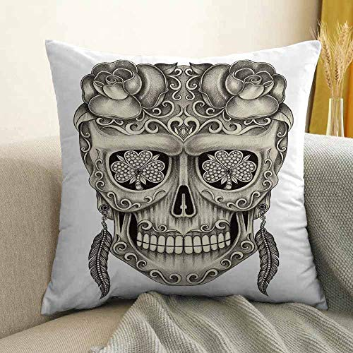 FreeKite Day of The Dead Pillowcase Hug Pillowcase Cushion Pillow Spanish Sugar Skull with Roses Dragonfly Eyes Feather and Earrings Artwork Anti-Wrinkle Fading Anti-fouling W16 x L16 Inch Grey Ivory