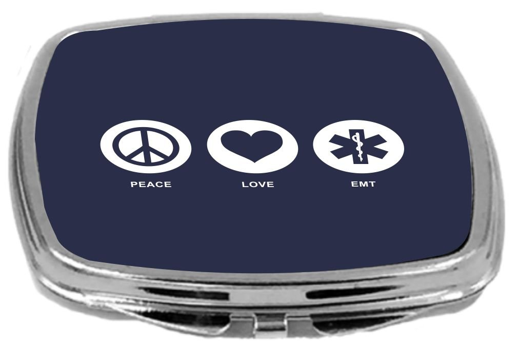2 Ounce Blue Rikki Knight Peace Love Emt Design Compact Mirror