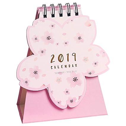 2019 Calendario de escritorio en forma de flor de cerezo Año Nuevo ...