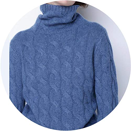 - The small cat Winter Thick Turtleneck Sweater Women 100% Pure Cashmere Sweater Female Twist Knitted Warm Pullover,Dark Blue,S
