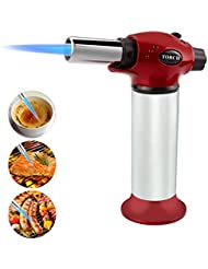 Culinary Butane Torch, Homga Professional Blow Torch Refillable Adjustable Flame Lighter Chef Cooking Torch Lighter Kitchen Butane Torch With Safety Lock for BBQ Creme Brulee DIY