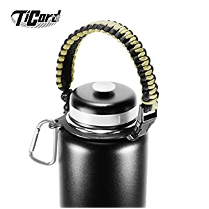 Water Bottle Carrier - TiCord is Stylish Paracord Holder and Survival Bracelet - Perfect For Outdoor Sports, Fitness, Hiking and Camping (Bronze Green/Black)