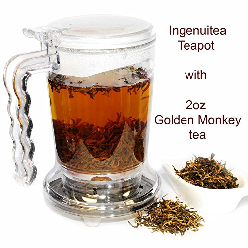 IngenuiTEA 16oz Teapot Set with 2oz T7 TEA Golden Monkey Black Tea