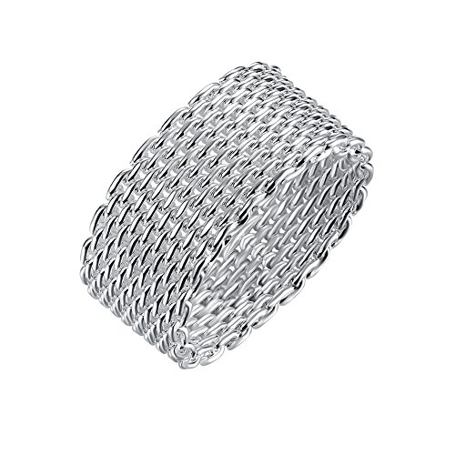- Landol Women Teen Girls Minimalism Silver Mesh Band Ring Sterling Silver Statement Rings Jewelry Gift (Silver, 7)