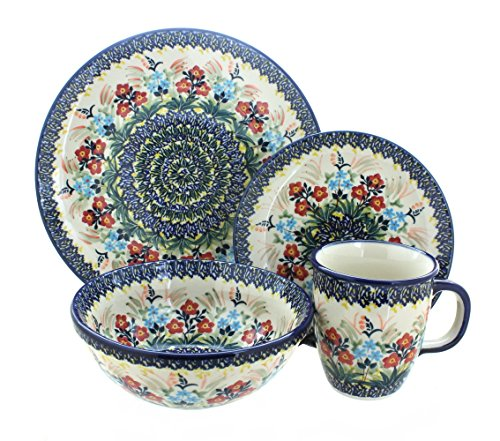 Rose Piece Place 4 Setting (Blue Rose Polish Pottery Garden Field 4 Piece Place Setting)