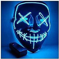 Foneso Máscara LED de Halloween, Máscara de Disfraz con 3 Modos Luminosos, Adecuada para Juegos de rol de Fiesta de…