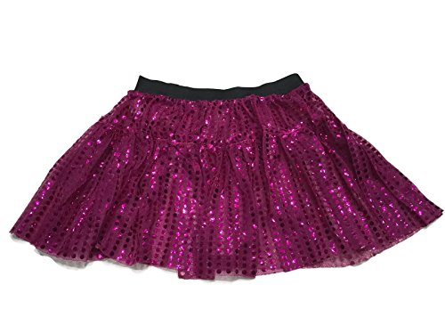 Rush Dance Sparkle Sequin Running Skirt Race Costume Glitter Ballet Tutu 5K (L/XL, Hot (Disney World Marathon Costumes)