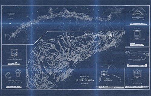 Vintography 18 x 24 Blueprint Style Reproduced Old Map 1862Coast South Carolina from Charleston to Hilton Head United States Coast Survey 4864BL_