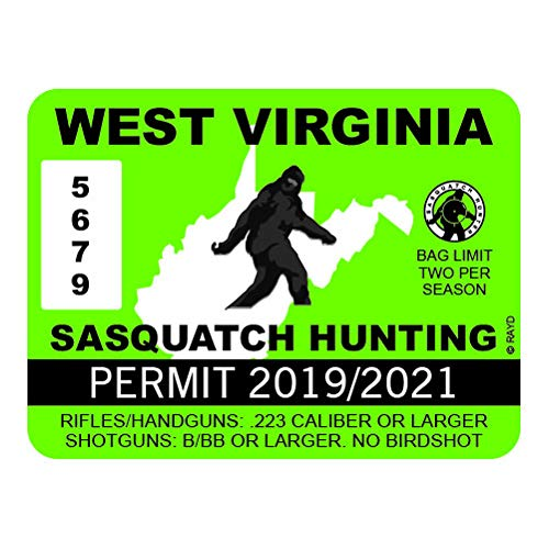 "RDW West Virginia Sasquatch Hunting Permit - Color Sticker - Decal - Die Cut - Size: 4.00"" x 3.00"""