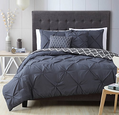 Avondale Manor 5-Piece Madrid Comforter Set, Queen, Charcoal - Manor Comforter Set
