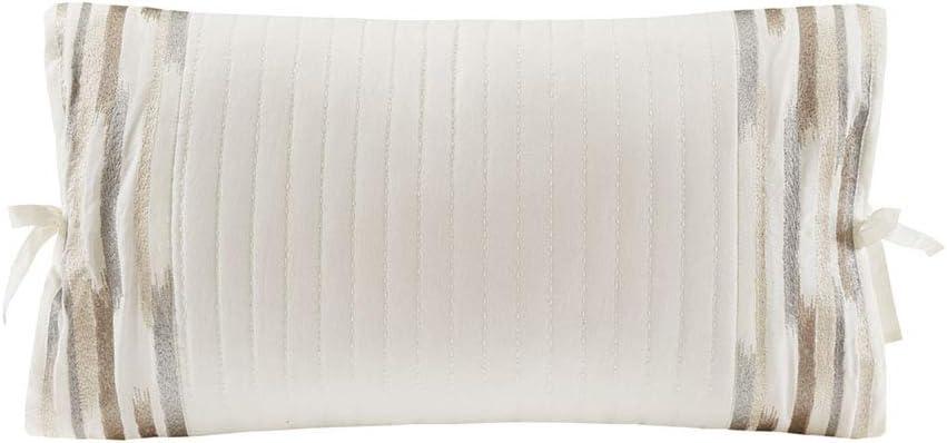 N Natori Hanae Embroidered Cotton Oblong Decorative Pillow White 12x20''