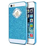 KSHOP Case Coque for iPhone 6 6S (4.7 inches) Luxury Bling Diamond Sparkling Glitter PC Back Hard Etui Housse Bright Shinning Skin Cover Shell Anti-scratch Bumper, Blue Bleu