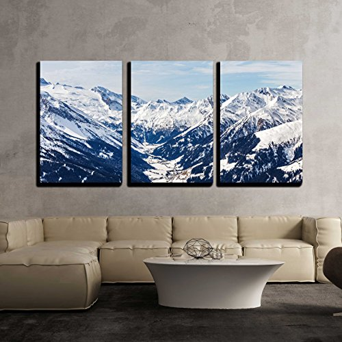 (wall26 - 3 Piece Canvas Wall Art - Landscape Photo of Snowy Mountains in Alps - Modern Home Decor Stretched and Framed Ready to Hang - 24