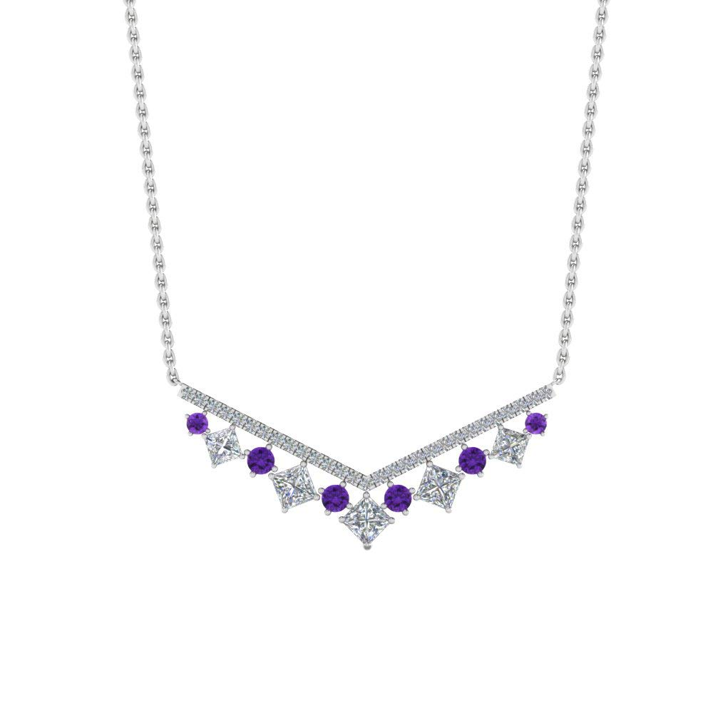 Ringjewels 0.71Ct Princess Amethyst /& Sim Diamond V Necklace Pendant W//18 Chain 14K Gold Plated .925