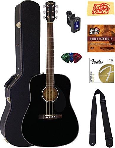 Fender CD-60S Dreadnought Acoustic Guitar - Black Bundle with Hard Case, Tuner, Strap, Strings, Picks, Austin Bazaar Instructional DVD, and Polishing Cloth
