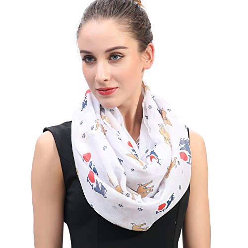Lina & Lily I Love Chihuahua Dog Print Infinity Loop Scarf for Women (White) by Lina & Lily