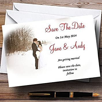amazon com 10 x white winter customized wedding save the date cards