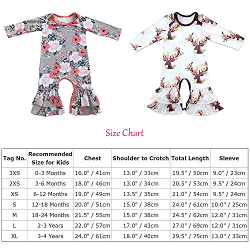 2399238ca FYMNSI Baby Girls Icing Ruffle Romper Floral Jumpsuit Pants Long Sleeve  Pajamas Christmas Birthday Outfits Homewear