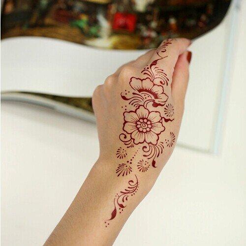 Gc india henna style hand leg neck arm temporary tattoo for Temporary finger tattoos