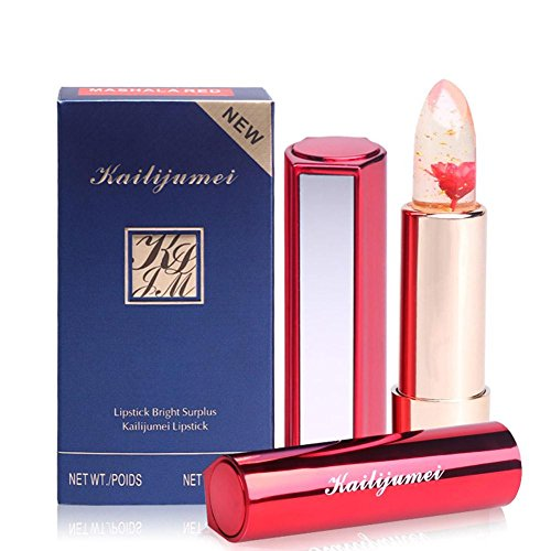 One North Beauty Kailijumei Original Lipstick with Infused Flower Inside, Flame Red