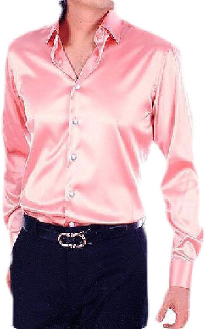 Hokny TD Mens Long Sleeve Shiny Satin Dance Dress Shirt Party Button Down Shirt