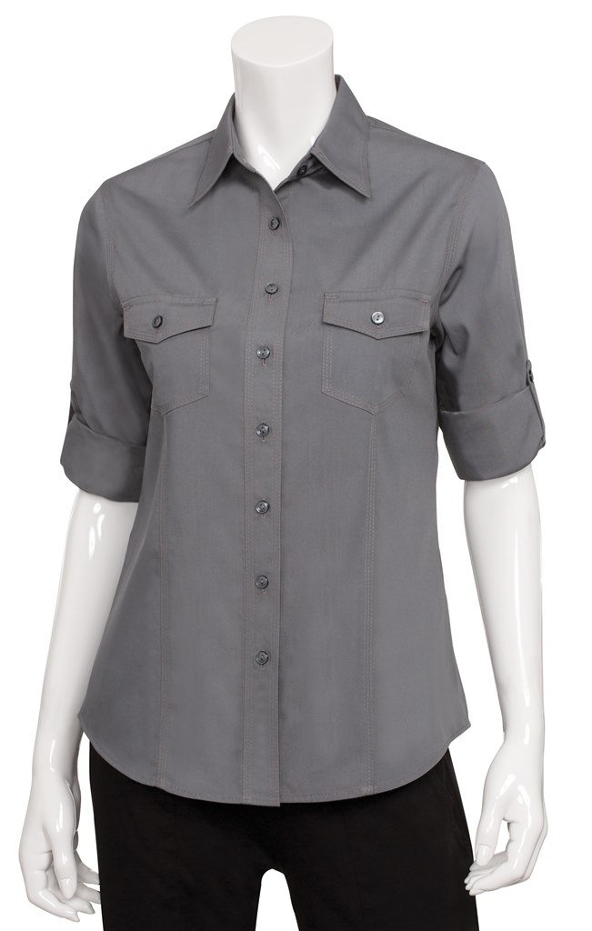 Chef Works Men's Uniforms Mens Pilot Shirt, Grey, 2X-Large by Chef Works