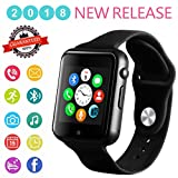 Smartwatch, Bluetooth Smart Watch Phone Wristwatch with Pedometer Camera SMS SNS Sync Music Player SIM Card Slot for Android IPhone (Partial Functions) Men Women (Black)