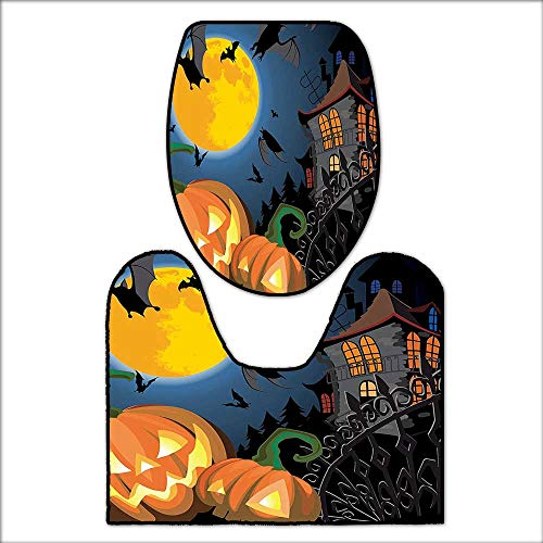 qianhehome 2 Piece Bathroom Contour Rugs Gothic Scene with Halloween Haunted Party Theme Trick or Treat for Kids Anti-Slip Water AbsorptionL21 x W24-W17 x H17 for $<!--$31.99-->
