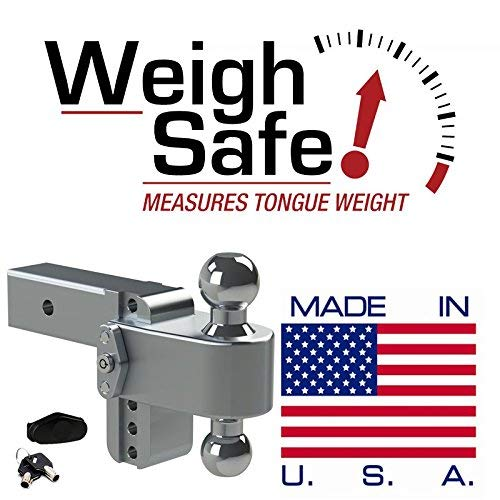 Weigh Safe CTB4-2.5, 4'' Drop 180 Hitch w/ 2.5'' Shank/Shaft, Adjustable Aluminum Trailer Hitch & Ball Mount, Chrome Plated Steel Combo Ball (2'' & 2-5/16'') and a Double-pin Key Lock by Weigh Safe (Image #3)