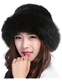 Womens Winter Hat Knitted Mink Real Fur Hats Fox Brim