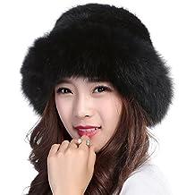 Valpeak Womens Winter Hat Knitted Mink Real Fur Hats Fox Brim