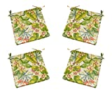 "Set of 4 - Indoor / Outdoor Tommy Bahama Fresco Floral - Pink, Green, Orange, Ivory Tropical Floral Fabric Universal 2"" Thick Foam Seat Cushions with Ties for Dining Patio Chairs - Choose Size (18'' x 17'')"