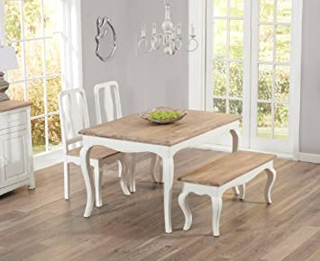b193eda31b Image Unavailable. Image not available for. Colour: Parisian 130cm Shabby  Chic Dining Table with two dining chairs and bench