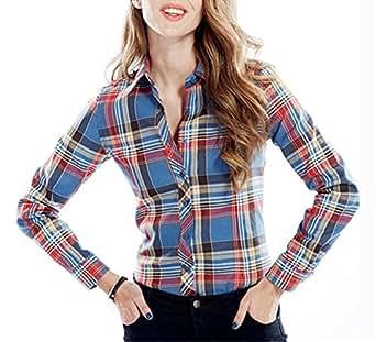 Women's Long Sleeve Button Down Check Plaid Shirt Blue Red 2