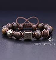 CUBIC Men's Gemstone Beaded Bracelet, Shamballa Bracelet, Natural Stone Brown Macrame, Gift for Him, Bronzite Bracelet, Pyrite Bracelet Crux Crystals