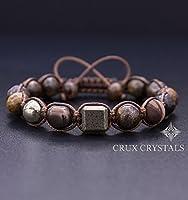 CUBIC Men's Gemstone Beaded Bracelet, Shamballa Bracelet, Natural Stone Brown Macrame, Gift for Him, Bronzite Bracelet, Pyrite Bracelet Crux Crystals