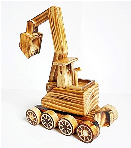 BWLZSP 1PCS New Products Pure Wood Excavator Wood Toy Tank Wheels Home Decorations Gift Ornaments Crafts Lovers Toy WL5300934 (Color : Excavator) by BWLZSP (Image #5)