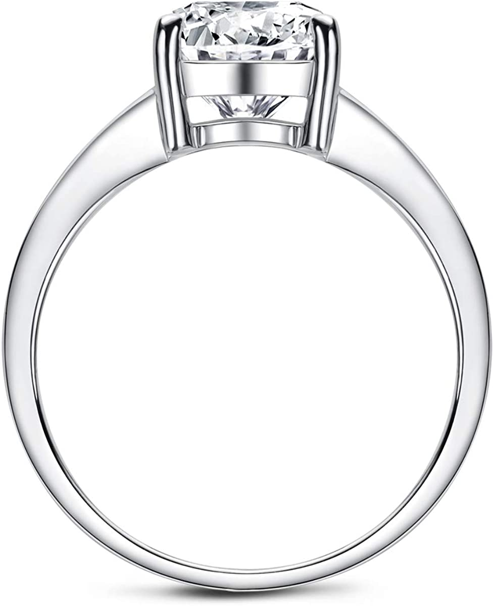 AINUOSHI 3.5 Carat Cushion Cut Cubic Zirconia CZ Sterling Silver 925 Solitaire Engagement Ring Sizes 5 to 8