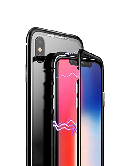 online retailer 5d1c0 cfc52 KumWum iPhone Xr Case Slim Aluminum Metal Bumper Case Magnetic Adsorption  Tempered Glass Back Cover Phone Case for iPhone Xr (iPhone Xr, Clear ...
