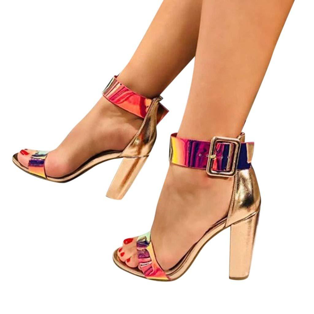 Heeled Sandals for Women Ankle Strap,FAPIZI Summer Casual Open Toe Round-Toe Fashion Sequin Nightclub Shoe by FAPIZI Women Shoes (Image #2)