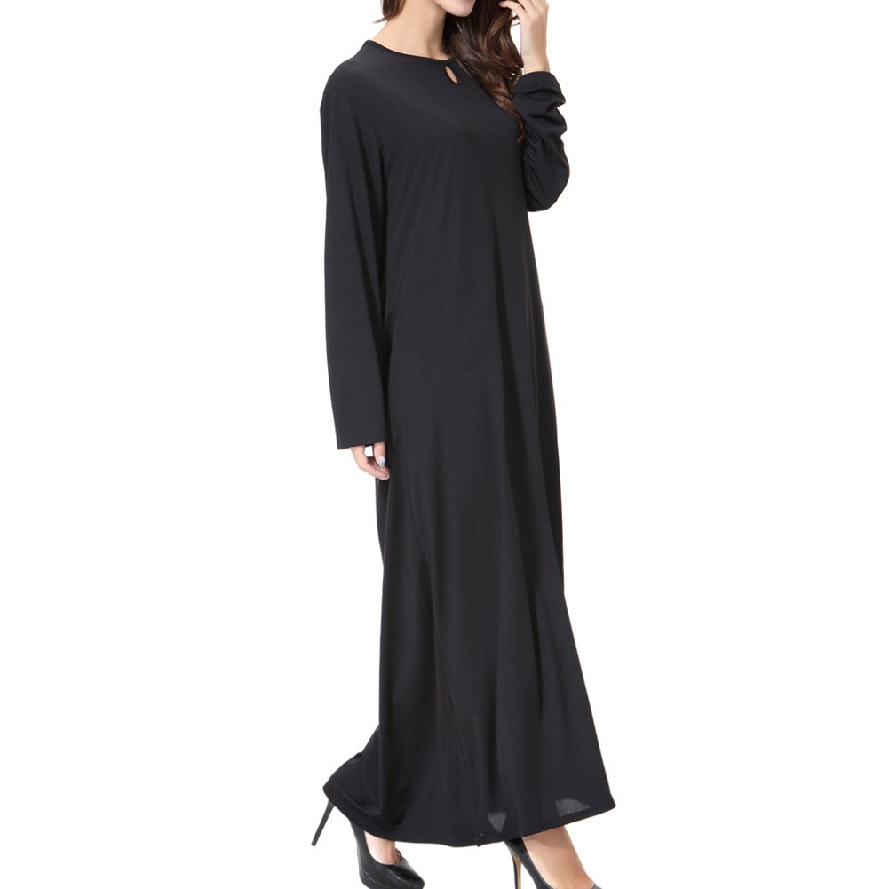 Meijunter Islamic Muslim Ladies Thobe Malaysia Pure Color Long Sleeve Kaftan Dubai Church Prayer Dress Turkish Apparel Arabia Abaya Robe Cocktail Gown ...