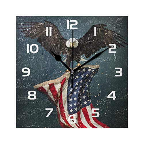 TropicalLife Wall Clock American Flag Eagles Decorative Square Clock Non Ticking Art Decor for Bedroom Living Room Kitchen Bathroom Office School