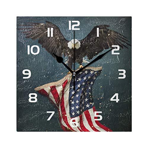 - TropicalLife Wall Clock American Flag Eagles Decorative Square Clock Non Ticking Art Decor for Bedroom Living Room Kitchen Bathroom Office School