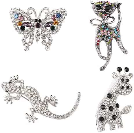 fa6ecac95 Luo's Brooches pins by Classy Animal Brooch Pin Women Girl brooches with 4  Packs Shiny Created