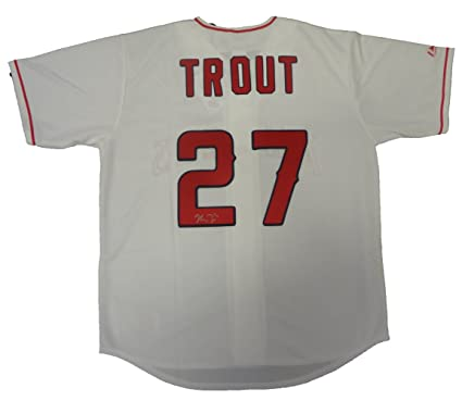 super cute 9046f ccdee Mike Trout Autographed Los Angeles Angels of Anaheim White ...